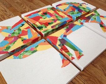 Six Canvas Modge Podge Pig Silhouette