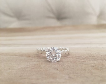 The Kate Ring, solitaire ring, engagement ring, CZ ring, sterling silver ring, sterling silver, silver rings