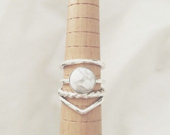 LIMITED EDITION Howlite Ring Set