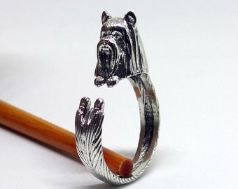 Silky Terrier Ring, Sterling Silver Ring, Dog Wrap Ring, Animal Ring, Cute Silver Ring, Adjustable Ring, Handmade Ring, Dog Jewelry, Unique