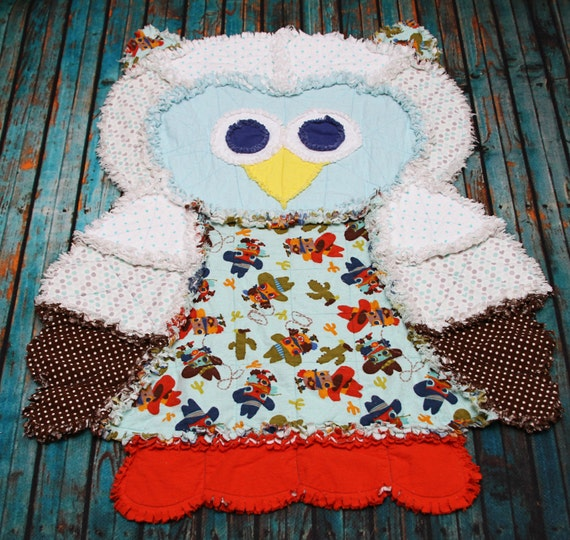 Rag Quilt Owl Pattern : Jaxon the Cowboy Owl Rag Quilt RTS Christmas in July Sale