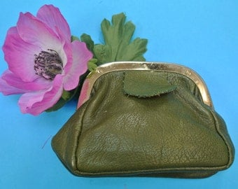 Vintage 1960s small SWEDISH unused traditional style dark olive green real leather exchange purse for money or all thoose small things