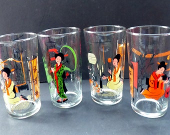 Fabulous Set of 1950s Japanese GEISHA GIRL Drinking Glasses or Tumblers. Four in Total in the Set