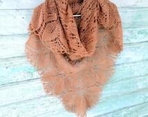 Shawl knitted arms , brown shawl, rustic wedding, Free Shipping ,Wedding shoulders , knit triangular shawl brooch gift, shawl lace wedding