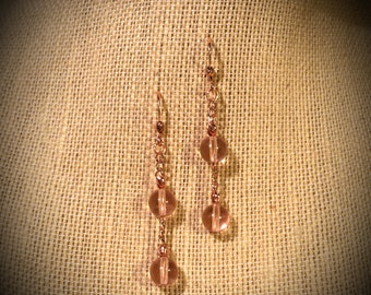 Rose Pink Fine Czech Glass Round Beads Along Copper Chain Links Solid Copper Earrings Rose Czech Glass Dangling on Copper Earrings