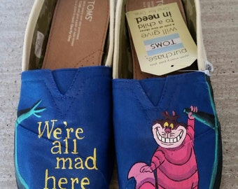 Hand Painted Cheshire Cat Toms ( front design only)
