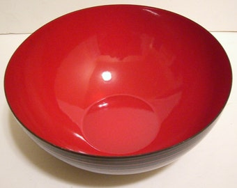Vintage Modernist Black & Red Mid Century Enamled Bowl