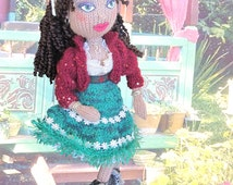 Instant Download Knitting Pattern. Knitted Gypsy Doll with Flared skirt, bodice, Kercheif and Jacket. Detailed Knitting pattern, best seller