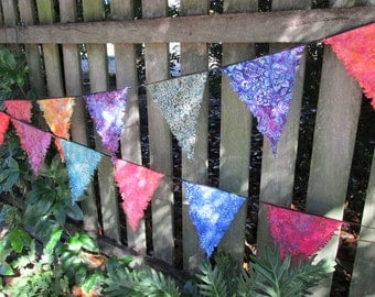 Batik Bunting. Outdoor bunting, Garden Decoration. Boho Bunting, Hippy bunting, Fringed Flags, multi color bunting, ready to hang bunting