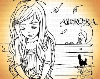 Digital stamp- Aurora 'Sharing Autumn'- 300dpi JPG/PNG files -MAC0233