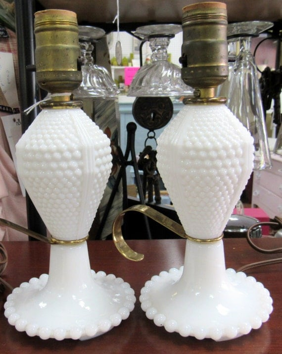 milk glass lamps pair of hobnail bedroom lamps