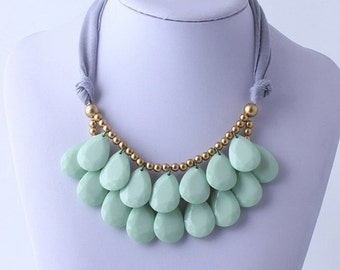 Mint Necklace, Mint Statement Necklace, Jcrew Bubble Necklace, Bubble Necklace, Tear Drop Necklace, Anthropologie Necklace