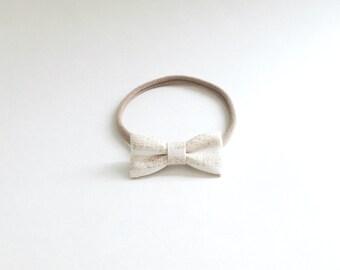 Natural Stripes, The Mini Bow, Baby Bows, Bows, Baby Headband, Nylon Headband, Handmade, Fabric Bows, Cotton, Mini Bows, Baby Accessories