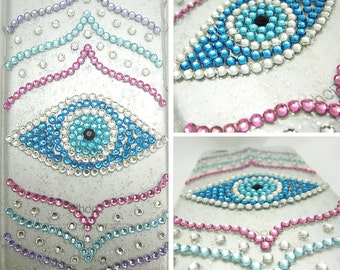 Bling Cell Phone Case - Oracle Evil Eye Crystal Case - iPhone 5/6/7/Plus, Samsung Galaxy S6/S7/S8/Note, Google Pixel/XL - Blue, Pink