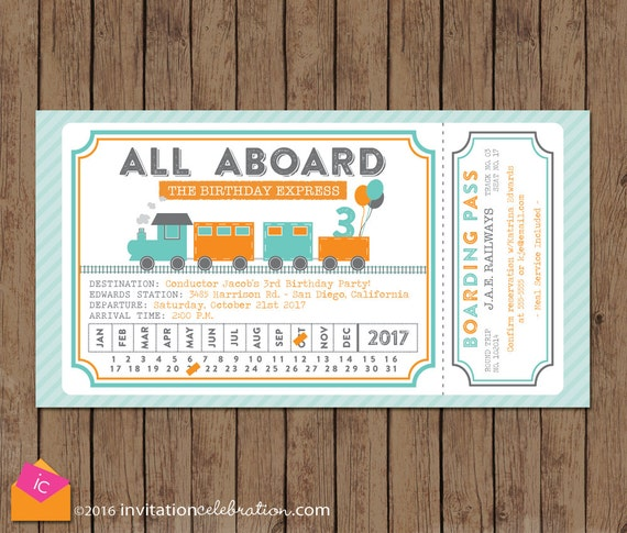 Train Ticket Invitation All Aboard Turquoise Orange Gray Train