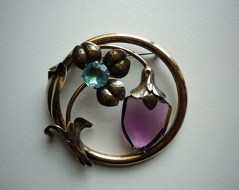 Vintage Large 12K GF Silver Faceted Amethyst Aquamarine Crystal  Floral Round Pin Brooch