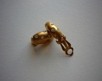 Vintage Swarovski Swan Crystal Brushed Gold Clip On Hoop Earrings Original Box Wedding Bridal