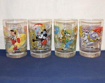WALT DISNEY MCDONALDS Disney 100 Year Glasses Complete Set of 4