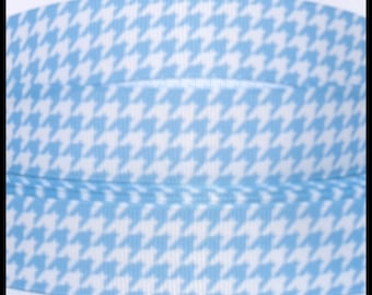 "5 yds 7/8"" Aqua Blue Houndstooth Check Grosgrain Ribbon"