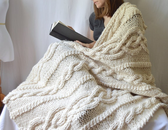 Bulky Knit Afghan Patterns : Chunky Knit Cable Throw Blanket, Knitting Pattern, PDF Download, Knitted Afgh...