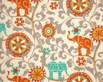 Indoor / Outdoor Weather Resistant Fabric By The Yard - Waverly Sun N Shade Menagerie Cayenne - Orange, Turquoise, Gray Elephant