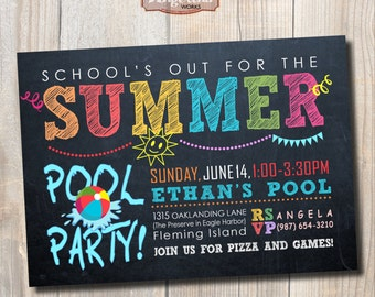 Chalkboard Pool Party Invitation. Summer party. DIY card. Digital Printable card