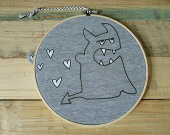 Devil in love, embroidery hoop art, screen printed by hand