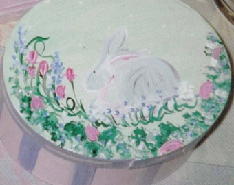 Oval Wooden Cheese Box with Bunny/Floral Pattern