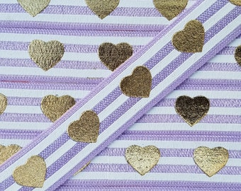 5/8 LAVENDER With White Stripes with Gold HEART Foil Fold Over Elastic