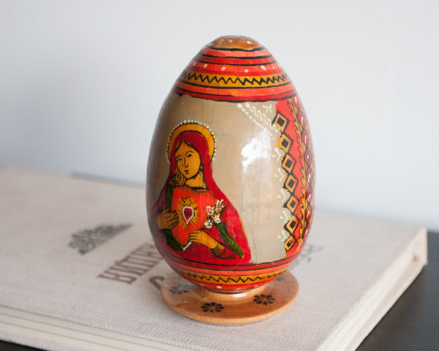 Wooden Easter Egg Mary Mother Of Jesus and Jesus Icon EasterJesus Easter Egg