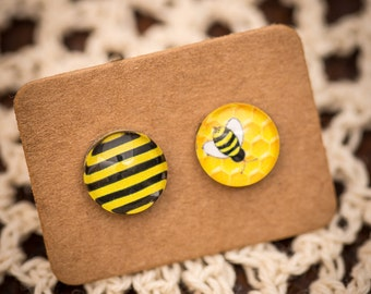 FREE SHIPPING - Bee Earrings - Unique - Surgical Steel - Sensitive Ears - Mismatched Asymmetrical Bee Honey Hive Honeycomb Free Postage