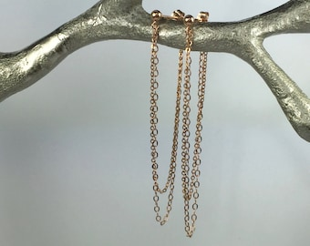 Rose Gold Chain Earrings, Looped Chain Earrings, Long Stud Earrings, Long Rose Gold Earrings, Simple Rose Gold Earrings, Drop Earrings