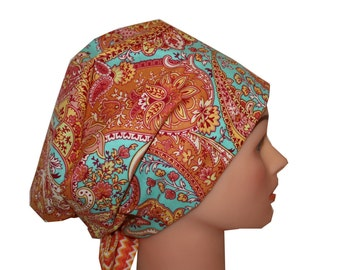 Scrub Hat Surgical Scrub Cap Chemo Chef Vet Nurse Dr Hat European Style Pixie Orange Teal Yellow Paisley 2nd Item Ships FREE