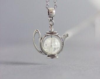Rock Crystal Pendant, Teapot Pendant, Teapot Necklace, Tea Necklace, Teapot Jewelry, Tea Jewelry, Crystal Pendant, Rock Crystal, Teapot, Tea