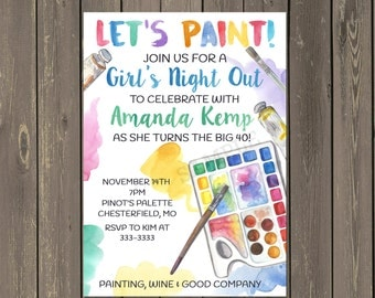 Painting Party Invitation, Adult Painting Party Invitation, Art Party, Wine and Art Birthday Party Invite, Printable or Printed