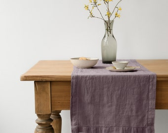 Ashes of Roses Vintage Stone Washed Linen Table Runner