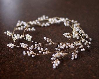 Bridal Hair Vine Tiara, Wedding Hair Accessories, Honey Golden Color with small ivory pearl ,1m Long wedding hair vine