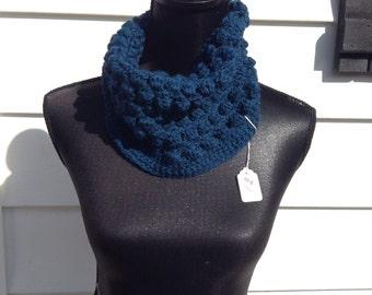 100% Wool Crocheted Blue Popcorn Ruffled Neckwarmer/Cowl