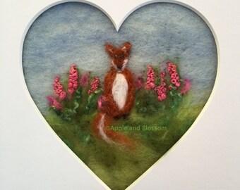 Fox,Heart,Flowers,Embroidery,Foxgloves,Textile Art, Art, Picture, Fox Picture,Nature,Wool,Felt