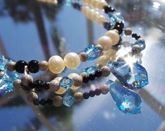 Swarvoski Necklace, Crystal Necklace, Pearl Necklace, Blue Necklace