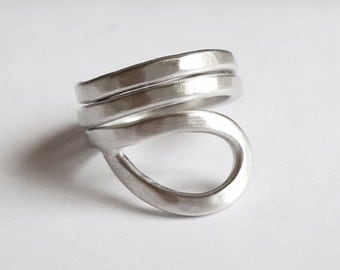 Wide triple silver ring