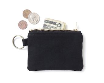 Canvas Keychain Coin Purse Slim Wallet Zipper Pouch Black