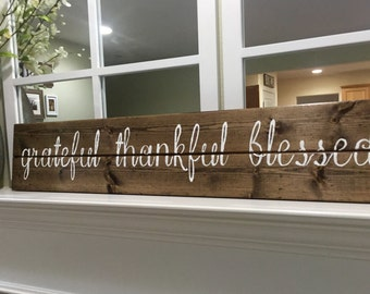 Grateful thankful blessed sign, grateful thankful blessed rustic wall decor, rustic decor,