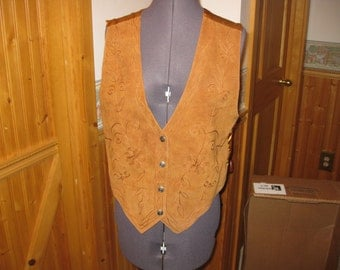 Ladies Leather sueded Med deco embroidered front Western Vest free ship Brown Northwest