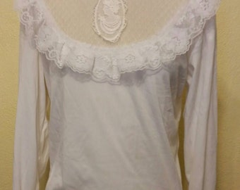Cameo Lace Victorian Steampunk Lolita Blouse Size Medium