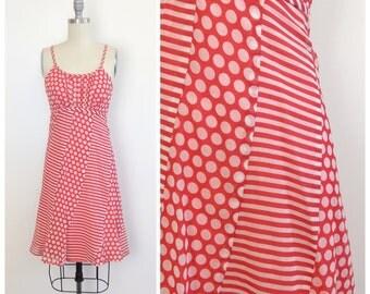 70s Red & White Polkadot Stripe Dress / 1970s Vintage Summer Sun Dress / Small / Size 2 - 4