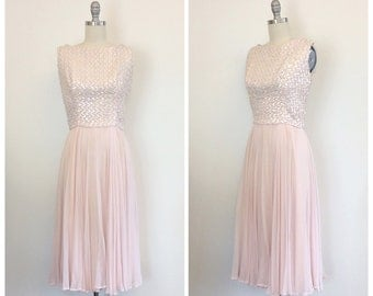 50s Pale Pink Femme Fashions Party Dress / 1950s Vintage Sequined Chiffon Dream Evening Gown / Medium / Size 6