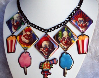 Killer Klowns Necklace, clown, unique, strange, horror, creepy, gothic