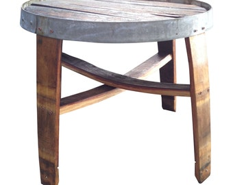 Handmade-French Oak Wine Barrel Stave Side Table