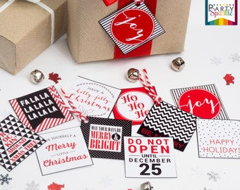 "INSTANT DOWNLOAD 2X2"" Square Christmas Gift Tags - Black and Red - Digital Printable Pdf File"
